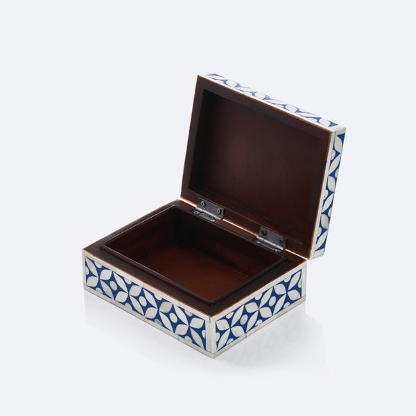 Geometric Pattern Box - Navy Blue