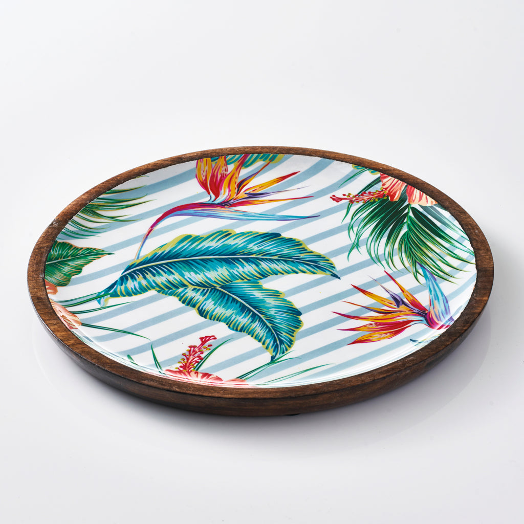 Round Serving Tray - Tropical Gardens