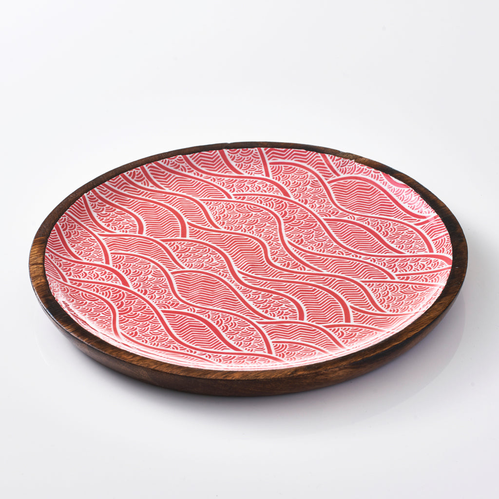 Round Serving Tray - Red Dunes