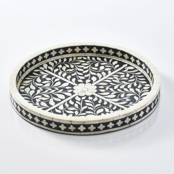Leaf Pattern Round Tray