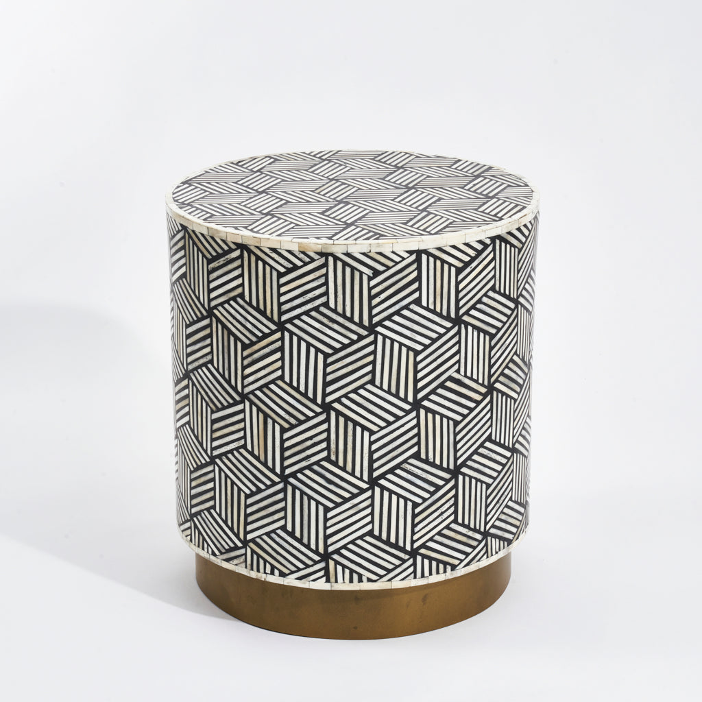 Side Table - Optical Illusion Box Pattern