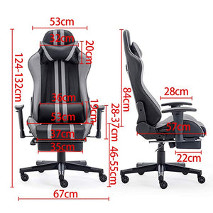 Red Gaming Chair with Footrest