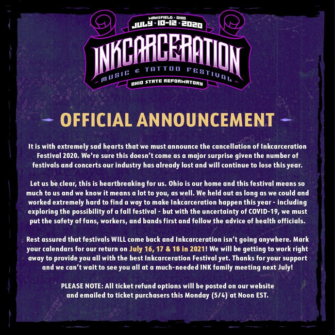 Inkcarceration Announces Cancellation of 2020 Festival