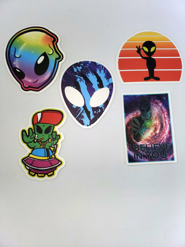 Alien/UFO-Themed Stickers (5 pack) - Squatch In The Pit
