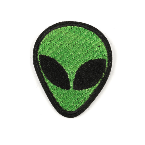 Alien Face Green Iron On Patch - Squatch In The Pit
