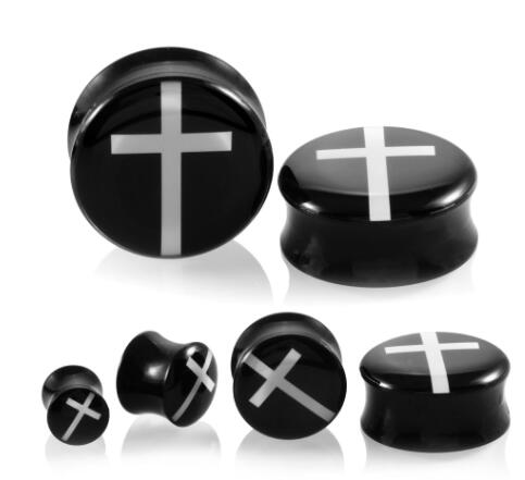 White Cross Black Double Flared Ear Plug - Squatch In The Pit