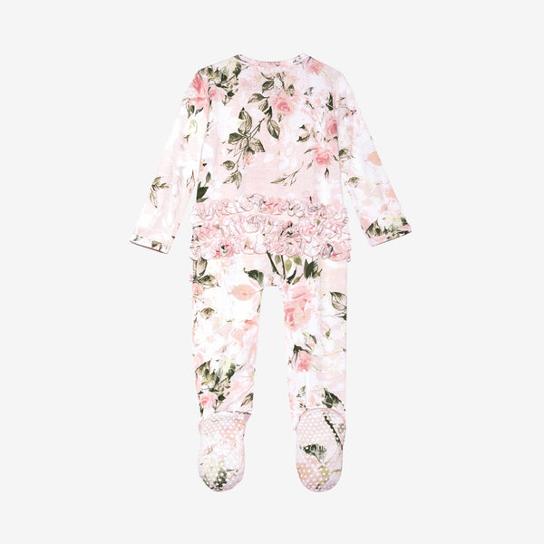 Footie Zippered One Piece - Vintage Pink Rose