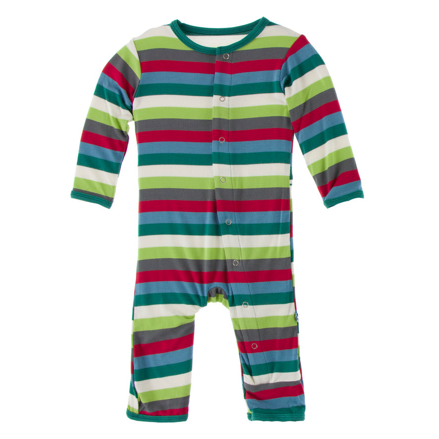Multi Stripe Print Coverall with Snaps