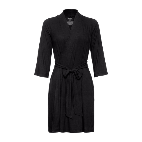 Solid Ribbed Black Mommy Robe