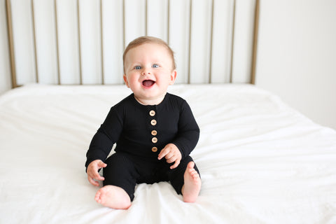 Solid Ribbed Black Long Sleeve Henley Romper