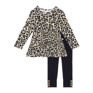 Lana Leopard Tan Long Sleeve Basic Peplum Top & Legging Set