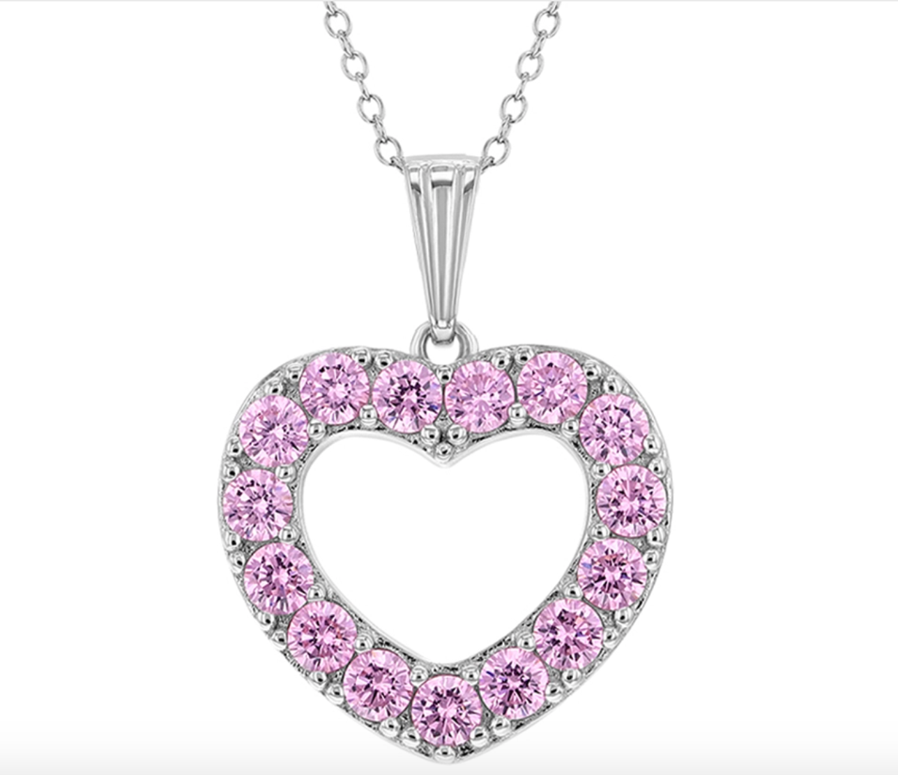 Pink Open Heart Pendent Necklace