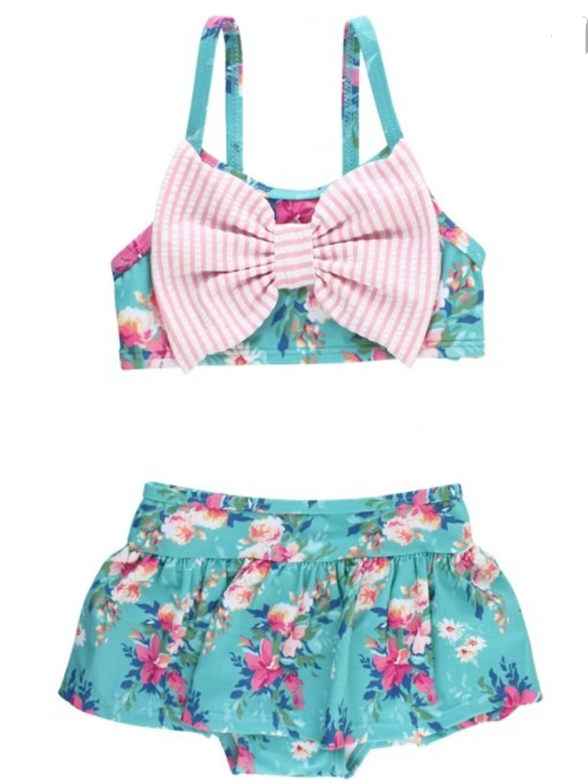 Fancy Me Floral Bow Skirted Bikini