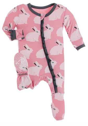 Strawberry Forest Rabbit Muffin Ruffle Footie with Zipper