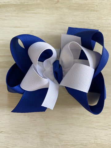 White over Blue Clip Hairbow