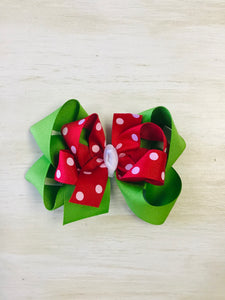 Green and Red Hairbow with White Dots