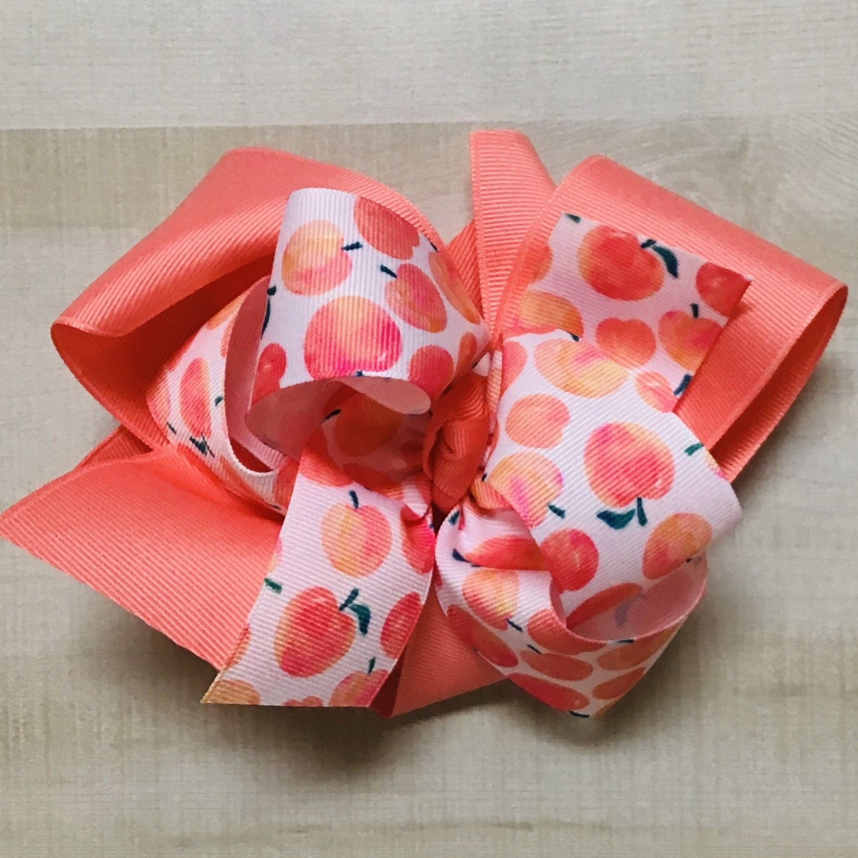 Peach Print over Coral Ribbon Bow