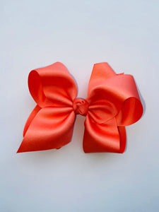 Coral Medium Grosgrain Bow with clip