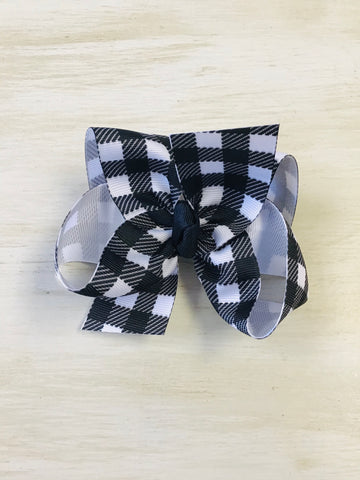 Black and White Plaid Hairbow
