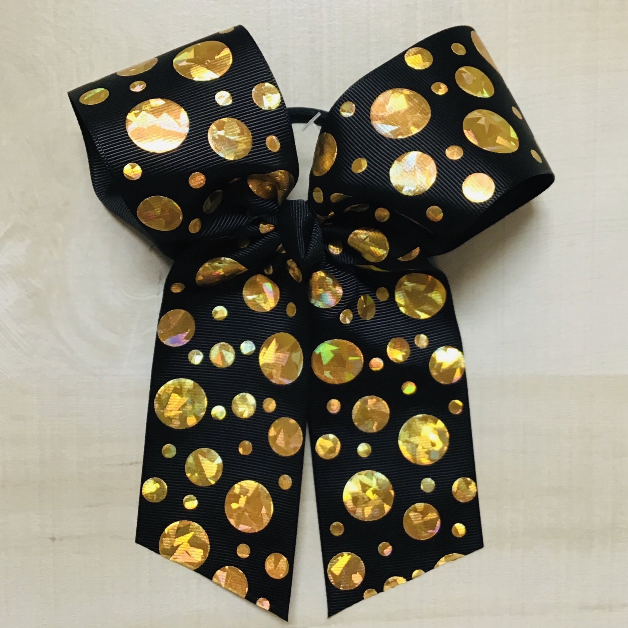 Black with Hologram Gold Dots Hairbow