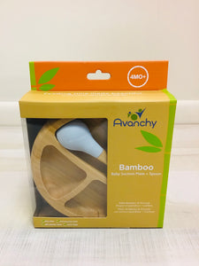 Gray Bamboo Baby Suction Plate + Spoon