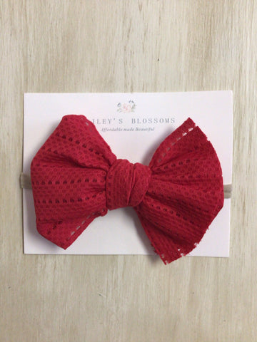 Stretch Mesh Head Bows-Red