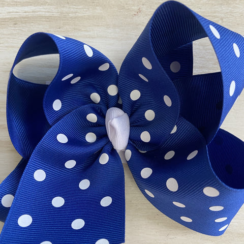 Royal Blue White Dots Hairbow