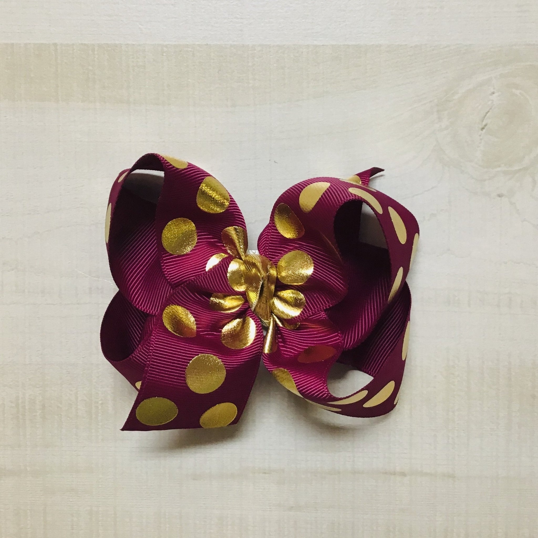 Burgundy with Metallic Gold Dots Hairbow