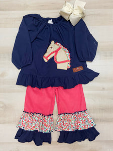 Horse Applique Long Sleeve Top & Ruffle Pants