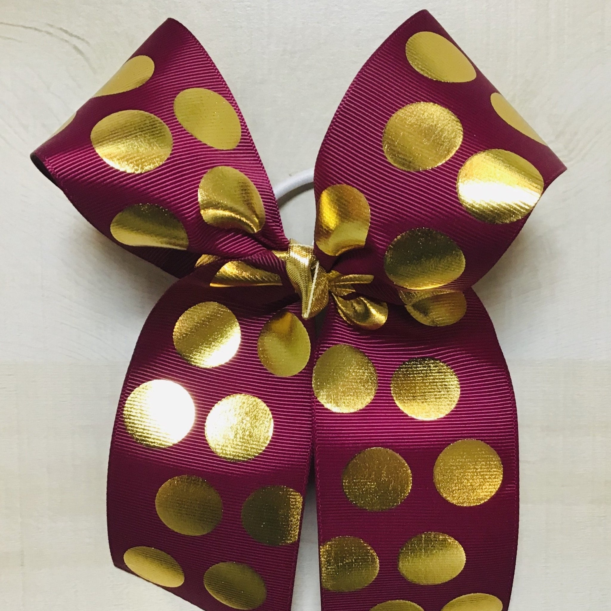 Burgundy with Metallic old Dots Hairbow