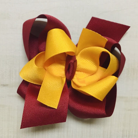 Yellow Gold over Cranberry Hairbow