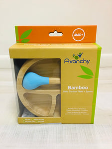 Blue Bamboo Baby Suction Plate + Spoon