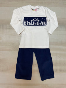 Navy Smocked Shirt and Pants