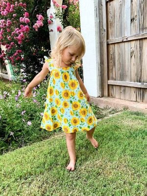 Sunflower Muslin Sundress with Bloomers