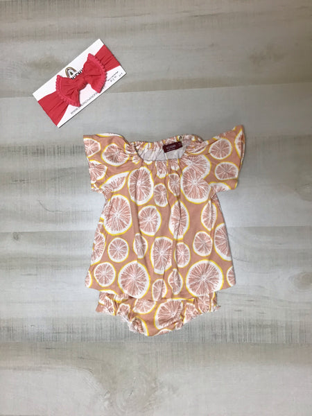 Grapefruit Dress and Bloomer Set