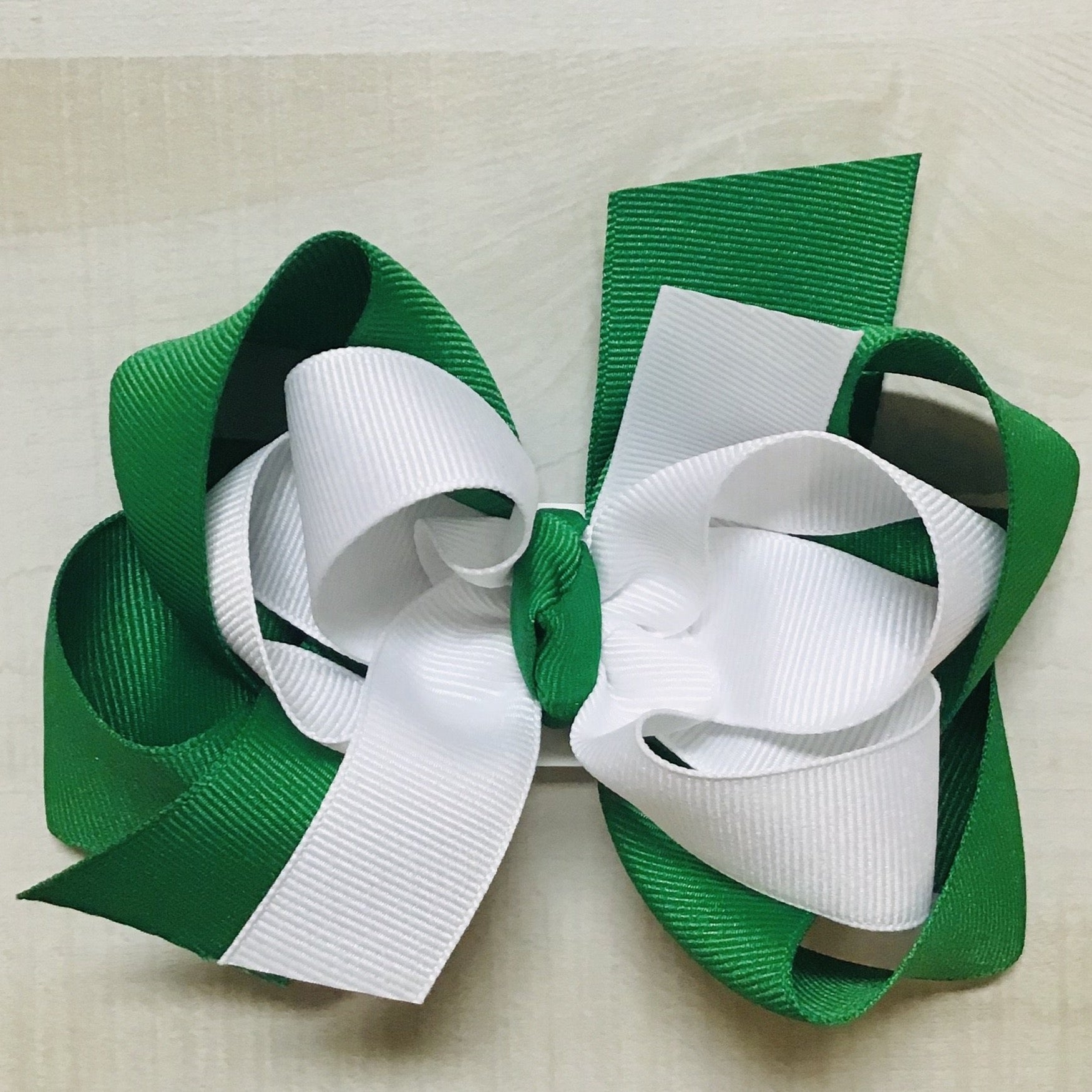 White over Emerald Hairbow