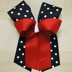Red over Black Dot Bow