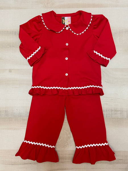 Red Pajamas Trimmed in White - Girls