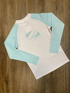 Long Sleeve Rashguard White & Aqua