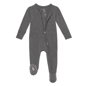 Charcoal Heather Footie Zippered One Piece