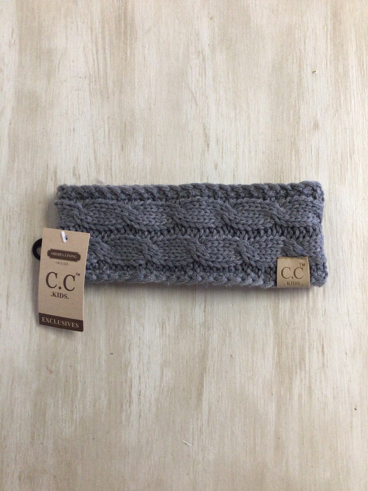 Kids Solid Cable Knit Head Wrap CC Beanie