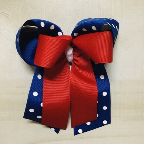 Red over Blue Dot Bow