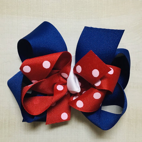 Red Dot over Blue Hairbow