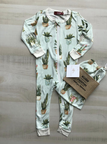 Potted Plant Bamboo Zipper Pajamas