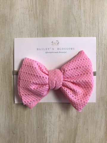 Stretch Mesh Head Bows-Pink