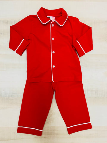 Red Pajamas Trimmed in White - Boys