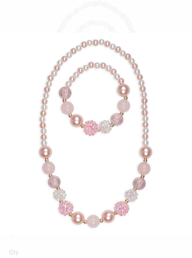 Pearly pink Bracelet and Necklace Set