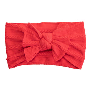 Ladybug Red Cable Knit Nylon Headwrap