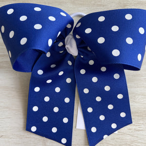Royal Blue with White Dots Bow
