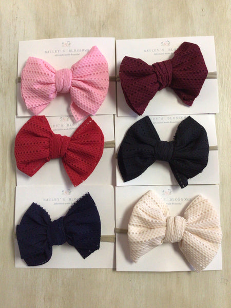 Stretch Mesh Head Bows-Navy